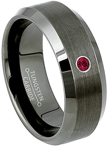 Jewelry Avalanche 0.07ct Ruby Mens Tungsten Ring - July Birthstone Ring - 8MM Beveled Edge Gunmetal (Dark Gray) Mens Tungsten Carbide Wedding Band, Anniversary Ring - 10.5