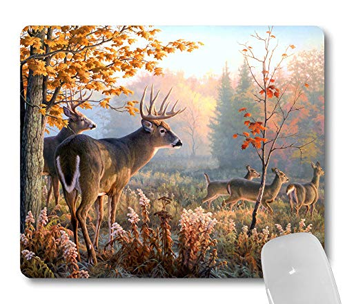 Wknoon Autumn Nature Wildlife Animal Deers Hunting Season Mouse Pad, Autumn Forest Deer Mouse Pads Cute Mat