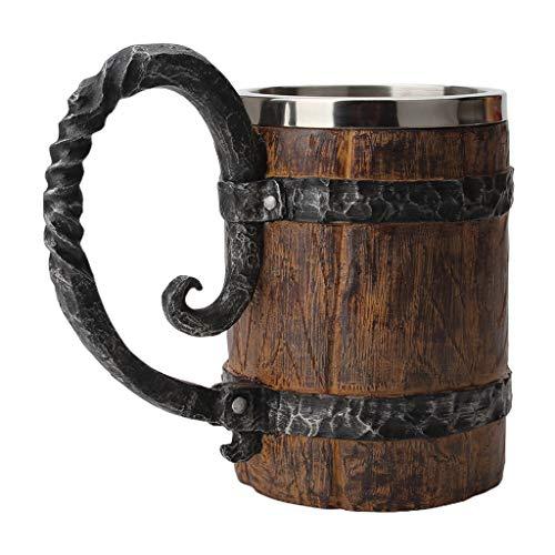 Taza de cerveza de doble capa con barril de madera de simulación retro personalizada clásica grande con una sola manija para casa