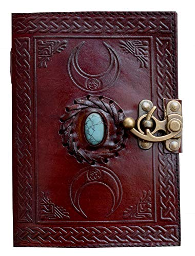 Handmade Leather Journal Book of Shadows Third Eye Triple Moon Turquoise Stone Celtic Parchment Hand Bound Unique Travel Blank Sketch Book Daily Wiccan Large Women journals Notebook 7x5 inch