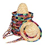 8 Packs Mini Sombrero Party Hats Mexican Hat Party Decorations Party Supplies Costume Hats for Kids Dolls Pets 5.9 Inch