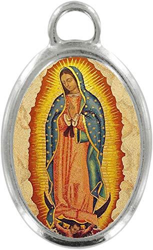 Ferrari & Arrighetti Medalla Virgen de Guadalupe de Metal niquelado y Resina - 3,5 cm