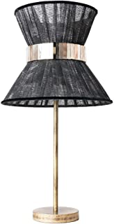 Tiffany Contemporary table Lamp 23 cm, silk organdy, silvered glass belt, brass.