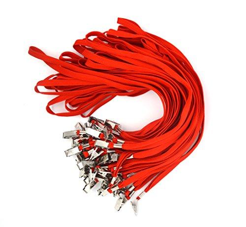 Bird Fiy 50pcs algodón cordón Clip de Bulldog 91,44cm soporte de trenzado cuello Cordón para tarjetas de identificación/insignias, color rosso