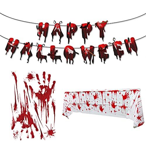 Halloween-Deko-Set, gruselige Kunststoff-Tischdecke, Party-Banner, Auto-Aufkleber