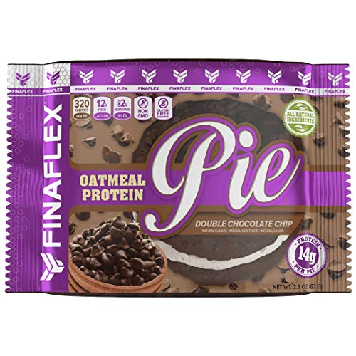Oatmeal Protein Pie, All Natural Soft and Chewy Non GMO Protein Snack, Gluten Free, Kosher, 14g Protein, 12g Fiber, Only 8 Sugars, Creamy Marshmallow Protein Filling, (Double Chocolate Chip)