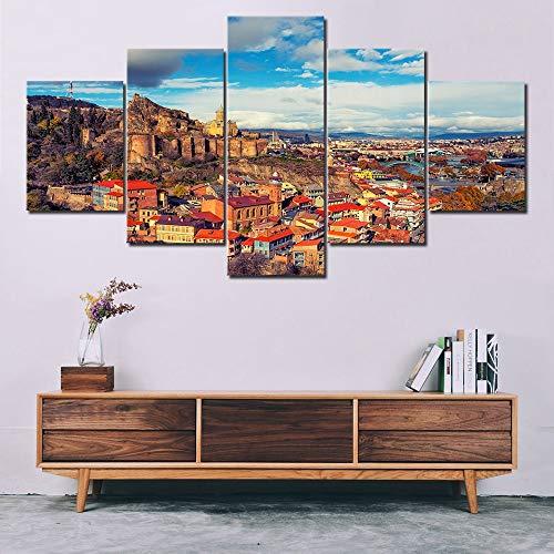tong99 Georgia Tbilisi alte Hauptstadt Landschaft 5 Platten HD-Druckplakat Leinwand Malerei Familie Wohnzimmer Schlafzimmer Dekoration-Rahmen