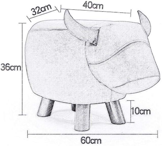 YUMUO Repose-Pieds de Forme Animale créative avec des bancs de siège en Bois et en Cuir pour Le Salon avec des Chaussures Ottoman F1219 (Couleur: Bleu) 3