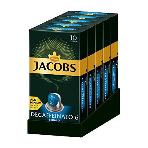 Jacobs Kaffeekapseln Lungo Decaffeinato, Intensität 6 von 12, 50 Nespresso kompatible Kapseln, 5er Pack (5 x 52 g)