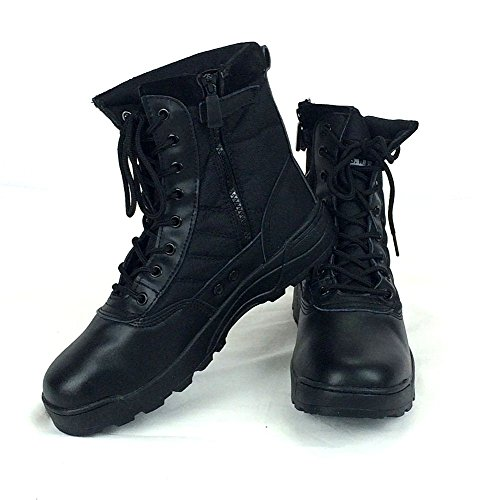 (K-JOY) ミリタリーブーツ タクティカルブーツ 迷彩 ライダーブーツ 作業靴 シューズ サイドジッパー サバゲ (41 約25.5cm, BK)