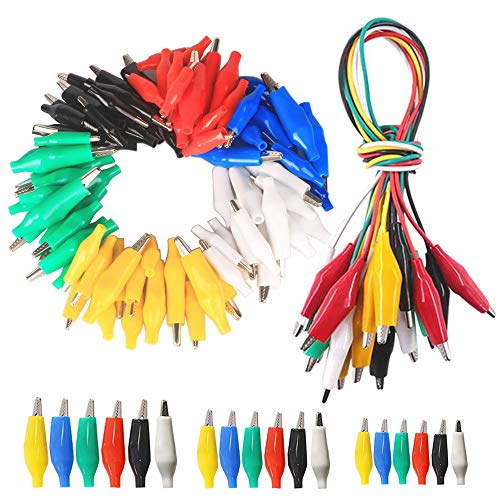 GTIWUNG 90 Stück 3 Größen Krokodilklemmen, 28mm/35 mm/45mm, Elektrische Testklemmen mit Rot/Gelb/Blau/Grün/Weiß/Schwarz Schutzabdeckung + 10 Stück Krokoklemmen mit Kabel für Multimeter Messleitungen