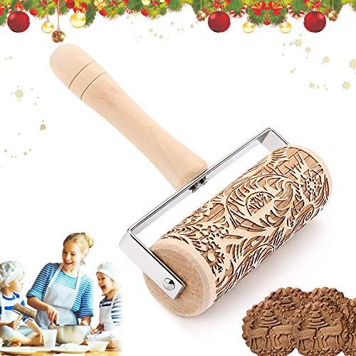 Weihnachten Teigroller,Prägerolle Holz Teigroller ,3D Nudelholz mit Prägung Blumen,Weihnachten Nudelhölzer,Teigroller muster,DIY Küchenhelfer für Teig Fondant Keks Kuchen Weihnachtsthema Dekoration