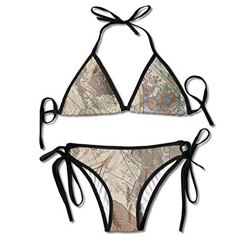 Qinckon Old World Map Bikini Damen Sommer Badebekleidung Triangle Top Bikinis Badeanzug 2-teiliges Set