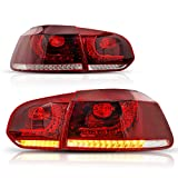 Luci Fari Posterior A LED Completo per GOLF 6 MK6 GTI GTD R [2008-2013]Fanale Posteriore, Blocchi fari Posteriori con Dynamic di Direzione Sequenziale, LH (1 Paio, Rosso + Bianco)