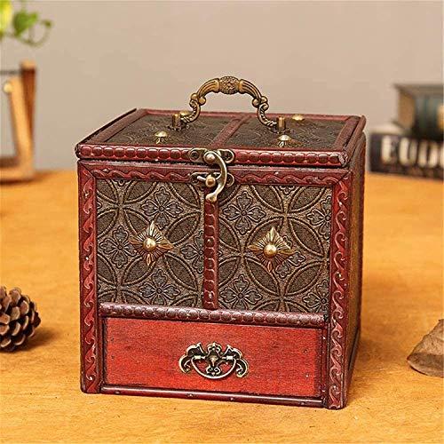 OH Caja de Maleta Multifuncional Caja de Joyería Retro con Espejo Handcraft de Madera Colección Mujeres Cajas Decorativas de la Niña Portátil/Rojo / 16.5×15.5×16cm