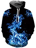 uideazone Unisex Men's Blue Smoke Fire Flame Hoodies Sweaters Comfortable Pullover Realistic Hooded Shirt with Adjustable Drawstring