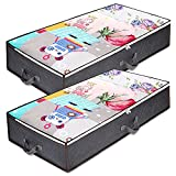 Anyoneer Under Bed Storage Containers with Stainless Steel Zipper, Extra Large, Thick Fabric,Under-bed Storage Bags Organizer with Clear Windows & Reinforced Handles for Comforters, Blankets and Clothing, Wrapping Paper, 2 Pack, Gray