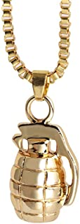 Gold Grenade Necklace Pendant with Chain Mens Polished