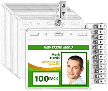 EcoEarth 3x4 Top Load Horizontal PVC ID Badge Holder with Metal Clips and Vinyl Straps Fits product image