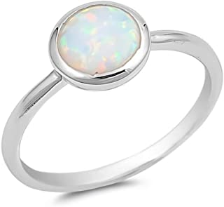 Glitzs Jewels 925 Sterling Silver Created Opal Ring (With CZ) | Jewelry Gift for Women