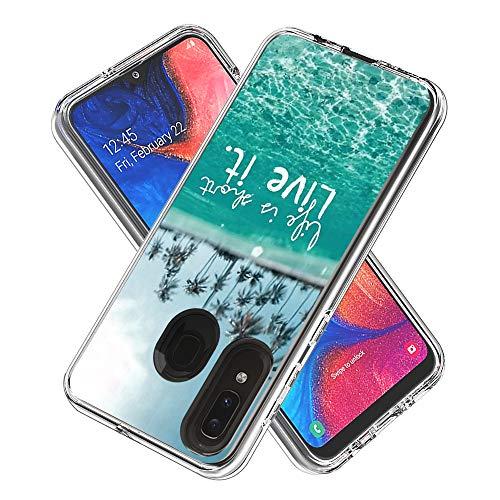 Miagon 2 in 1 Hart PC und Weich TPU Innere Durchsichtig Klar Hülle für Samsung Galaxy A20/30,Bunt Muster Anti Gelb Stoßfest Handyhülle Schutzhülle Bumper Case,Meer Baum