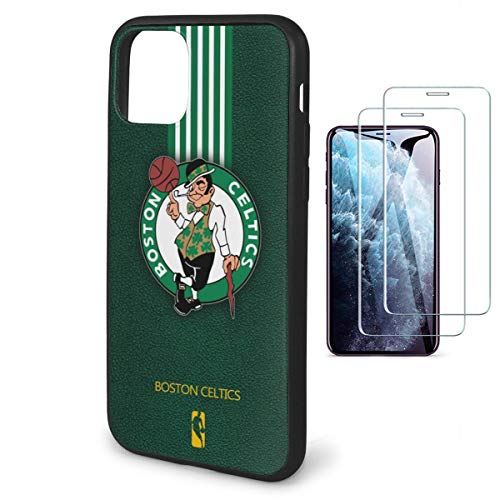 Phone Case for iPhone 11 Pro Max Case with 2 Pcs Screen Protector-TPU Non-Slip Protective [N B A] Team Cover Case 6.5'' Design for iPhone 11 Pro Max Case - Celtics