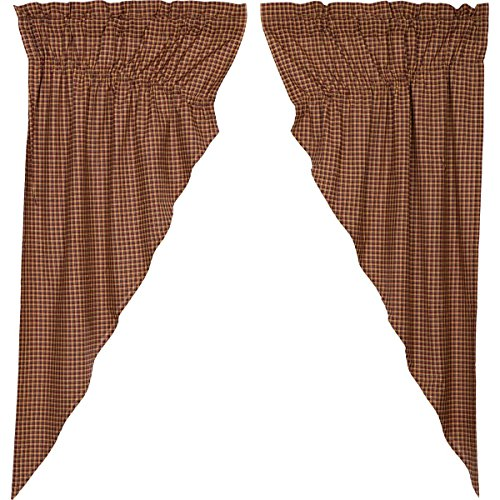 VHC Brands Patriotic Patch Plaid Prairie Short Panel Set of 2 36x63x18 Country Curtains, Deep Red