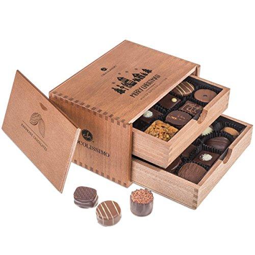Merry Chocolaterie - ohne Alkohol - 20 alkoholfreie Pralinen im Holzkästchen | Weihnachtspralinen | Weihnachtsgeschenk | Geschenkideen Weihnachten | Kinder | Erwachsene | Schokolade
