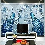 Yologg Estilo Chino 3D En Relieve Azul Pavo Real Pintura Al Óleo Mural Papel Tapiz Sala De Estar Tv Sofá Hotel Fondo-400X280Cm