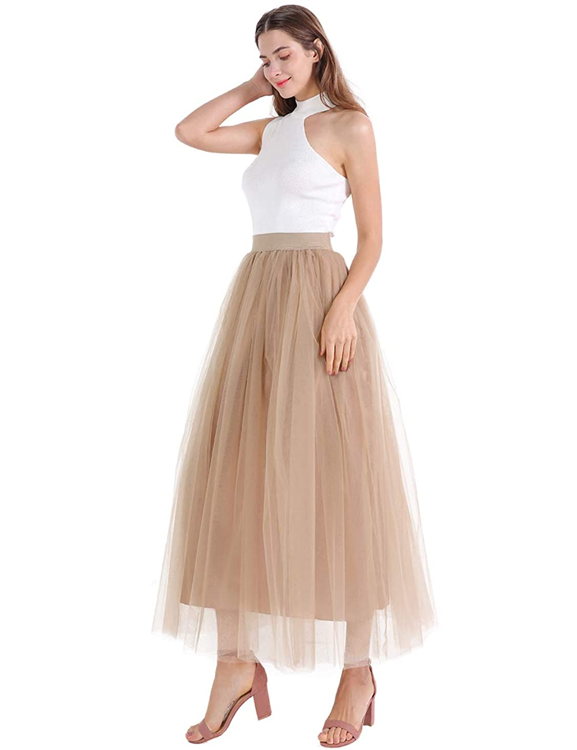 Romantic Plan Long Pleated Tulle A Line Elastic Waist for Wedding Party Skirt