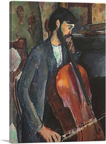 "ARTCANVAS The Cellist 1909 Canvas Art Print by Amedeo Modigliani - 18"" x 12"" (0.75"" Deep)"