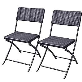 Bakaji Lot de 2 chaises pliantes pour économiser de l'espace, ameublement extérieur, jardin, avec assise et dossier en…
