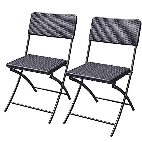Bakaji Juego de 2 sillas plegables para ahorrar espacio, muebles de exterior para jardín con asiento y respaldo de polirratán y estructura de acero, diseño moderno, tamaño 54 x 44,5 x 81 cm (negro)