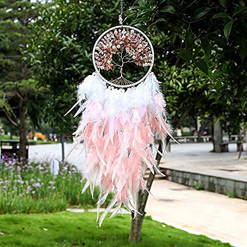 Pretty Jolly Fairy Pink Tree of Life Dream Catcher Wall Decor with Healing Crystal Stone Handmade Feather Dream Catchers Decoration Wall Hanging Bedroom Living Room Wedding Party Home Decor-25.6'