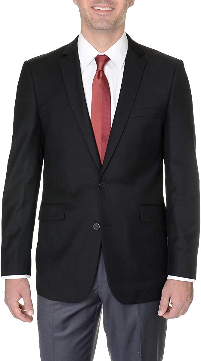 Micheal Kors Modern Fit Solid Black Two Button Wool Blend Blazer Sportcoat