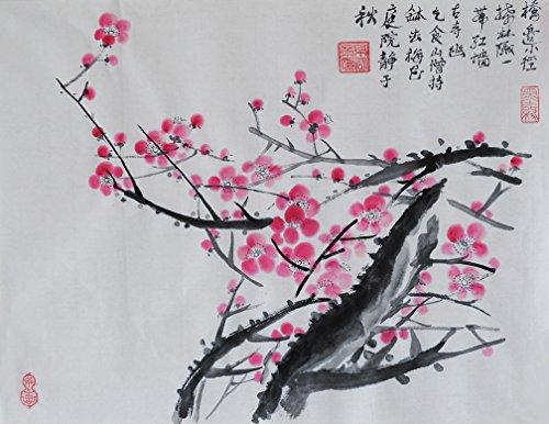 Oridental illustrations peintes à la main sans cadre Art chinois Brosse Lavage à encre et aquarelle Peinture Dessin Tableau sur papier de riz Prunier Décorations Décor pour bureau Salon