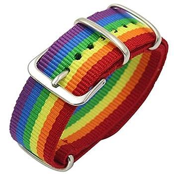 Nanafast Rainbow Bracelet LGBT Pride Bracelet for Gay & Lesbian Adjustable Wristband for Men Women 20mm