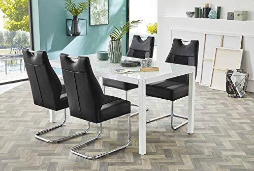 lifestyle4living Esstisch mit Einer weißen Glasplatte und einem weiß gepulverten Gestell in den Maßen 150x90 cm