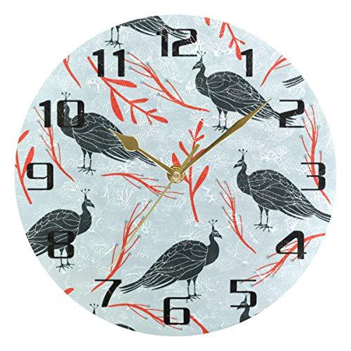 F17 - Reloj de pared redondo con diseño de pavo real (24,8 cm), diseño de pájaros y hojas de animales, para cocina, dormitorio, baño, sala de estar