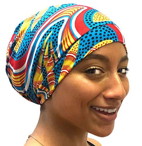 Fairy Black Mother Day or Night Sleep Cap for All Hair Types & Locs (Pretty Blue Yellow, Medium)