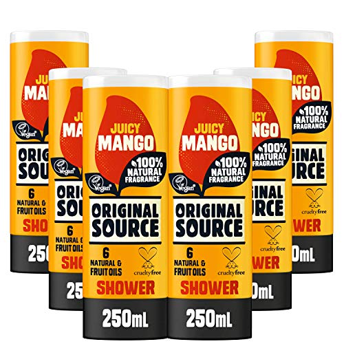 Original Source Mango Duschgel mit 100% natürlichem Duft, veganes Duschgel, parabenfreies Duschgel, Duschgel, Multipack mit 6 x 250 ml