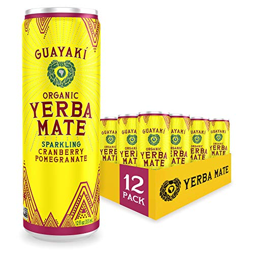 Guayaki Yerba Mate, Cranberry Pomegranate, Organic Sparkling Alternative to Soda, Tea, and Energy Drinks, 12 Ounce Cans (Pack of 12), 80mg Caffeine