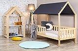BDW Cama infantil con protección anticaídas, cama juvenil natural, cama de madera con o sin colchón de 9 cm, muchos tamaños (90 x 200 cm con colchón) (180 x 90)