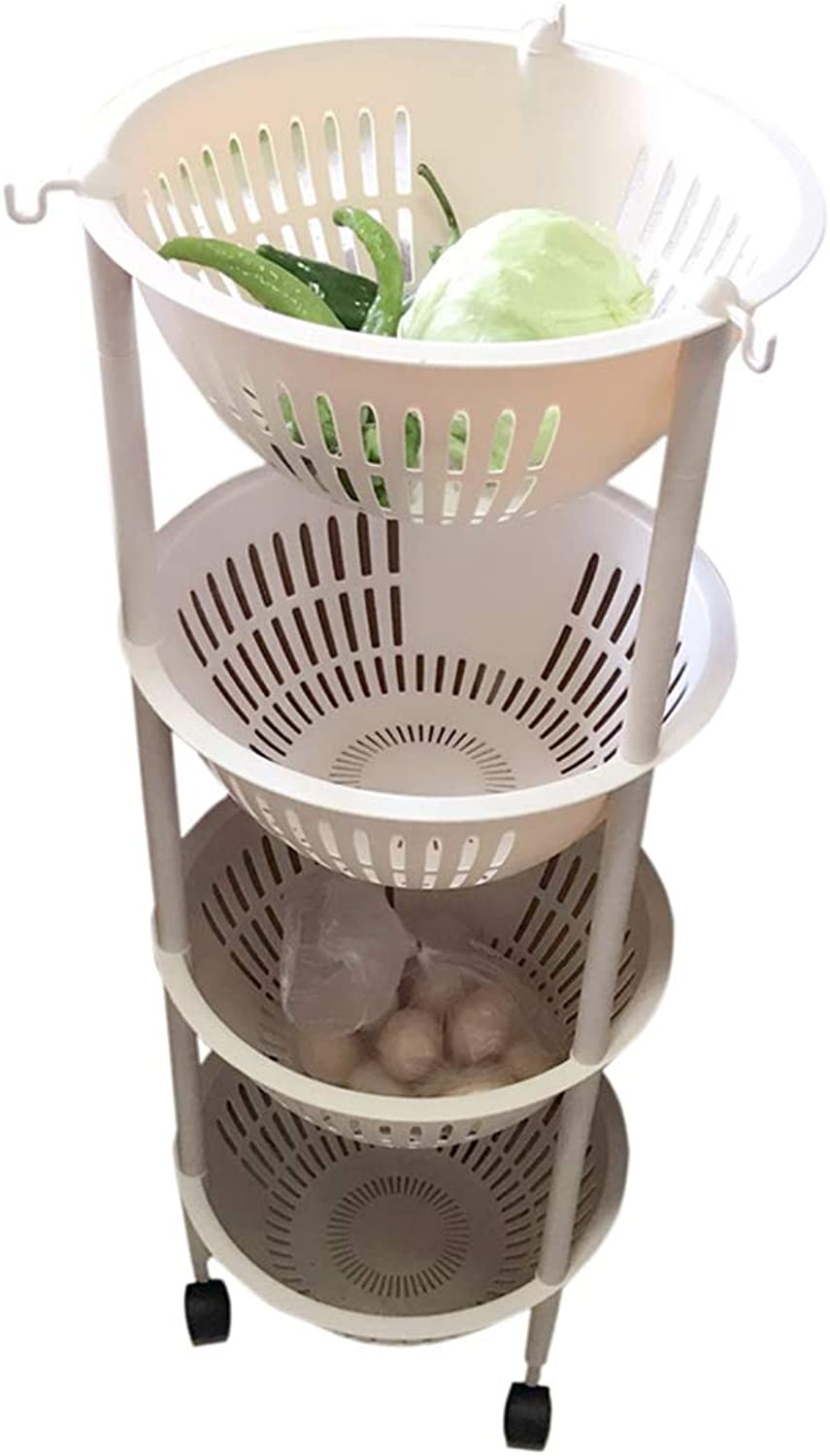 HUYP Beige Large Removable Storage Rack Vegetable Basket Kitchen Bedroom Bathroom Shelf