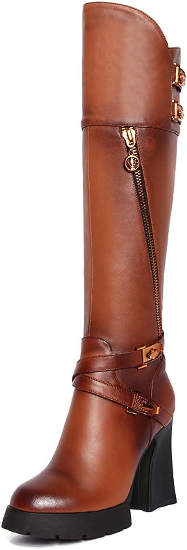 Woherrar läder stövlar Chunky Heel Knee höga höga höga stövlar Fall och Winter Warm mode Zipper Buckle stövlar svart bspringaaa  klassisk stil