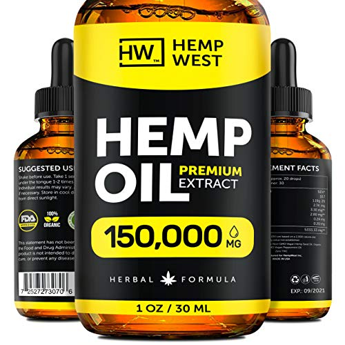 Hemp Oil 150000 MG for Pain & Anxiety Relief –  Sleep Support – Organic Extra Strong Formula – Vegan-Friendly – Helps for Skin, Hair - Pure Extract