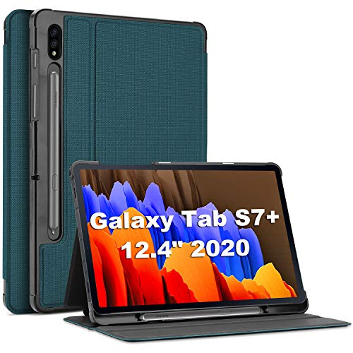 ProCase Galaxy Tab S7 Plus 12.4 Case 2020 with S Pen Holder, Slim Stand Protective Folio Case Smart Cover for Galaxy Tab S7 Plus 2020 Release 12.4 Inch SM-T970/T975/T976 -Teal