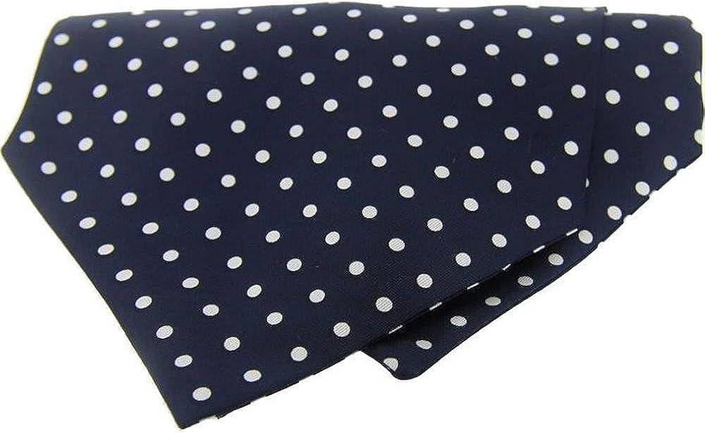 Denver Mall David Van Hagen Mens Polka outlet Dot White Silk - Navy Twill Cravat