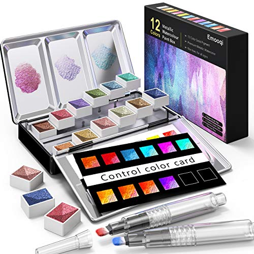 Metallic Watercolor Paints Set, Emooqi Professional Glitter Watercolour Solid Paint Box Include12 Metallic Glitter Color+2 Water Brushes+2 Color Card+Storage Bag, Ideal for Illustrations Painting&More