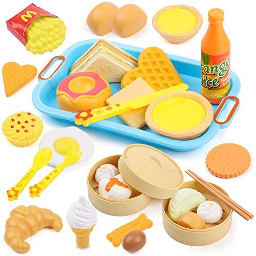 SKY TEARS Juguetes de Comida de Cocina, 31 Piezas Juguetes de rol de Cocina, Juegos de Rompecabezas para la Primera Infancia, Regalos Educativos para Niños y Niñas
